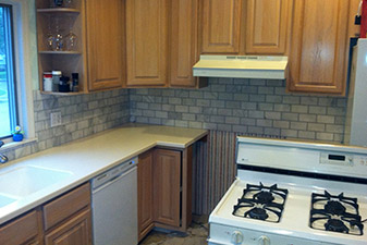 Backsplash Project completed by Floors & More Abbey Flooring